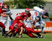 WOLFSBERG, AUSTRIA - AUGUST 18 American Football B-EC: RB Martin Dlouhy (#40, Czech) and his team beat Denmark 30:15 on August 18, 2009 in Wolfsberg, Austria.