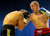 VIENNA, AUSTRIA - OCTOBER 3 Charity Boxing: Marcos Nader (right, Austria)  beats Robert Blazo (right