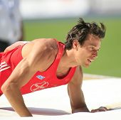 Danny Ecker competes in the pole vault at the Istaf Berlin International Golden League Athletics hel