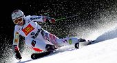 BORMIO ITALY MARCH 15 Elizabeth Goergl Austria skiing at the Audi FIS World cup finals in Bormio Italy