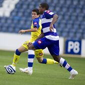 LONDON, UK AUGUST 2,Diego farias and Damion Stewart at the pre-season friendly football match betwee