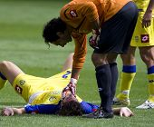 LONDON, UK AUGUST 2, Lorenzo Squizzi checks his defender after a clash of heads at the pre-season fr