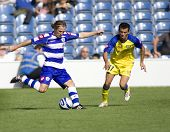 LONDON, UK AUGUST 2, Peter Ramage crosses the ball at the pre-season friendly football match between QPR and Chievo,