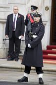 WHITEHALL, LONDON - NOV 8: A sailor from the Royal Navy on duty at the Royal British Legion Remembra