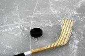 Hockey Stick On The Ice