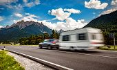 Family vacation travel, holiday trip in motorhome, Caravan car Vacation. Beautiful Nature Italy natu poster