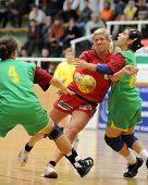 NAGYATAD, HUNGARY - MARCH 8: Vivien Zsigmond in action at Women's 17 European Handball Championship qualification match (Hungary vs. Portugal) March 8, 2009 in Nagyatad, Hungary.