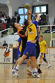 NAGYATAD, HUNGARY - APRIL 5: Istvan Kovacs (number 9) in action at Hungarian National Handball Champ