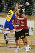 NAGYATAD, HUNGARY - FEBRUARY 5: Istvan Kovacs (L), Gyula Gal (C) and Peter Gulyas in action at Hunga