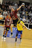 NAGYATAD, HUNGARY - FEBRUARY 5: Zarko Markovic makes a throw at Hungarian Cup Handball match (Nagyat