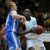 KAPOSVAR, HUNGARY - SEPTEMBER 4: Larry Welton (12) in action at a friendly basketball game Kaposvar