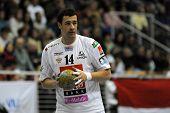 CSURGO, HUNGARY - OCTOBER 21: Marko Vujin in action at Hungarian National Handball Championship matc