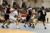 CSURGO, HUNGARY - OCTOBER 21: Perez Carlos (10) in action at Hungarian National Handball Championshi