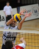 KAPOSVAR, HUNGARY - DECEMBER 8: Jozsef Nagy (in white) blocks the ball at a CEV Cup volleyball game Kaposvar (HUN) vs Hotvolleys Wien (AUT), December 8, 2009 in Kaposvar, Hungary