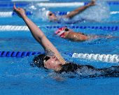 KAPOSVAR, HUNGARY - JUNE 18: Unidentified competitors swim at the Hungarian Country Championship on