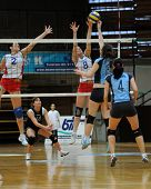 KAPOSVAR, HUNGARY - JANUARY 10: Petra Horvath (15) strikes the ball at the Hungarian NB I. League wo