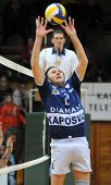KAPOSVAR, HUNGARY - JANUARY 19: Robert Koch posts the ball at a Hungarian volleyball National Champi
