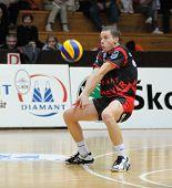 KAPOSVAR, HUNGARY - JANUARY 22: Lajos Domotor (in black) receives the ball at a Middle European League volleyball game Kaposvar (HUN) vs. HotVolleys Wien (AUT), January 22, 2010 in Kaposvar, Hungary.