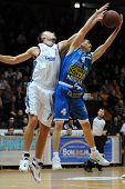 KAPOSVAR, HUNGARY - FEBRUARY 12: Unidentified players in action at a Hugarian Champonship basketball