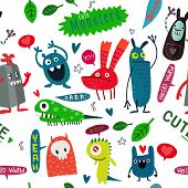 Cute Cartoon Monsters, Vector Cute Monsters Set Collection Isolated. poster