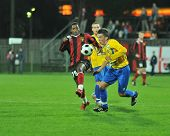 SIOFOK, HUNGARY - OCTOBER 3: Attila Horvath (R) in action at a Hungarian National Championship socce