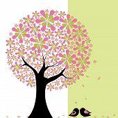Árvore de flor de primavera com Agapornis