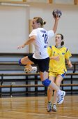 KAPOSVAR, HUNGARY - MARCH 7: Bernadett Sardi (C) in action at Hungarian Handball National Championsh