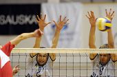 KECSKEMET, HUNGARY - APRIL 27: Koch (L) and Kovacs (R) blocks the ball at a Hungarian National Champ