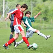 KAPOSVAR, HUNGARY - MAY 9: Adam Kiss (L) and Bence Kiss (R) in action at the Hungarian National Championship under 15 game between Kaposvari Rakoczi and Nagykanizsa May 9, 2010 in Kaposvar, Hungary.