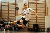 KAPOSVAR, HUNGARY - MAY 9: Agnes Traj in action at Hungarian Handball National Championship II. matc