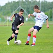 KAPOSVAR, HUNGARY - MAY 29: Bence Balogh (L) in action at the Hungarian National Championship under 19 game between Kaposvari Rakoczi and Barcsi FC May 29, 2010 in Kaposvar, Hungary.