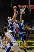 KAPOSVAR, HUNGARY - FEBRUARY 7: Unidentified players in action at a Hugarian Cup basketball game Kap