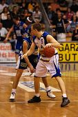 SZEKESFEHERVAR, HUNGARY - FEBRUARY 10: Unidentified players in action at a Hugarian Champonship bask