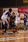 SZEKESFEHERVAR, HUNGARY - FEBRUARY 10: Kornel Kiss (16) in action at a Hugarian Champonship basketba