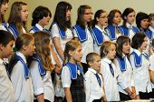 KAPOSVAR, HUNGARY - AUGUST 26: Members of the Marianum Komarno Choir sing at the IV. Pannonia Cantat