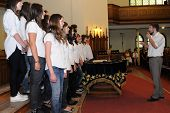 KAPOSVAR, HUNGARY - AUGUST 26: Members of the Franz Schubert Children's Choir (SVK) sing at the IV.