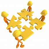 stock photo of team building  - A Concept And Presentation Figure in 3D - JPG
