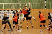 KAPOSVAR, HUNGARY - MAY 18: Unidentified players in action at Hungarian Handball National Championsh