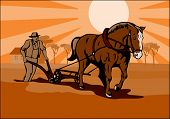 stock photo of horse plowing  - Vector art of a Farmer plowing the fields - JPG
