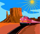 Train Traveling With Canyon In Background poster