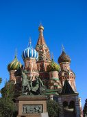 Minin And Pojarskiy Monument And St. Basil'S Cathedral poster