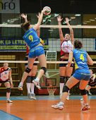 KAPOSVAR, HUNGARY - DECEMBER 12: Rebeka Rak (9) in action at the Hungarian NB I. League woman volley