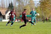 KAPOSVAR, HUNGARY - OCTOBER 31: Unidentified players in action at the Hungarian National Championship under 19 game between Kaposvar and Honved October 31, 2010 in Kaposvar, Hungary.