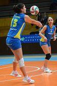 KAPOSVAR, HUNGARY - DECEMBER 19: Gabriella Kondor (L) receives the ball at the Hungarian NB I. Leagu