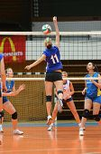 KAPOSVAR, HUNGARY - DECEMBER 19: Julia Karacsonyi (11) in action at the Hungarian NB I. League woman
