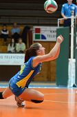 KAPOSVAR, HUNGARY - DECEMBER 19: Dora Ihasz receives the ball at the Hungarian NB I. League woman vo
