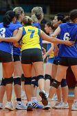 KAPOSVAR, HUNGARY - DECEMBER 19: Palota players celebrate at the Hungarian NB I. League woman volley