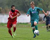 KAPOSVAR, HUNGARY - OCTOBER 16: Krisztian Mikola (R) in action at the Hungarian National Championshi