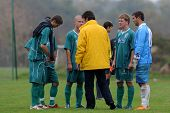 KAPOSVAR, HUNGARY - OCTOBER 16: Kaposvar players listening to the coach before the Hungarian Nationa