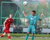 KAPOSVAR, HUNGARY - OCTOBER 16: Krisztian Garai (R) in action at the Hungarian National Championship